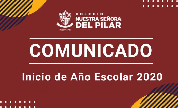 Comunicado Inicio de Año Escolar 2020